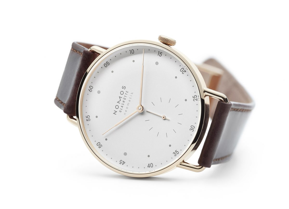 Nomos 39mm Diameter Gold Case Leather Strap Replica Watches For CA