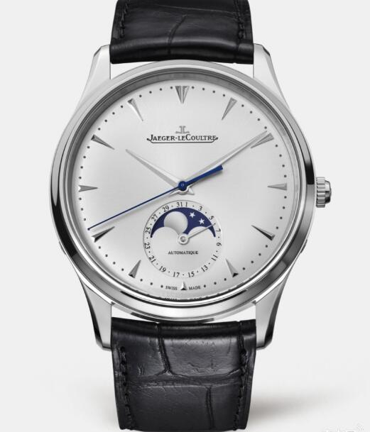 The blue second hand and moonphase sub-dial are really eye-catching on the silver background.