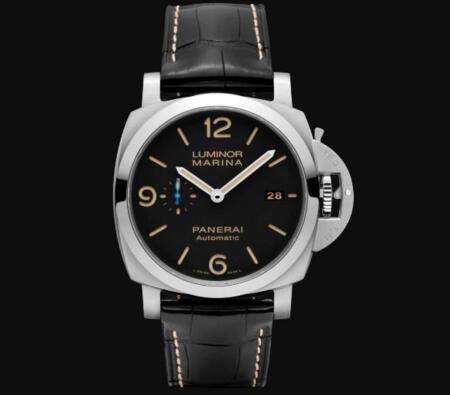 The blue small second hand is striking on the black dial.