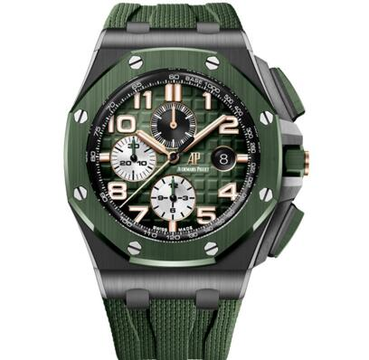 With the green tone, the timepiece looks eye-catching and impressive.