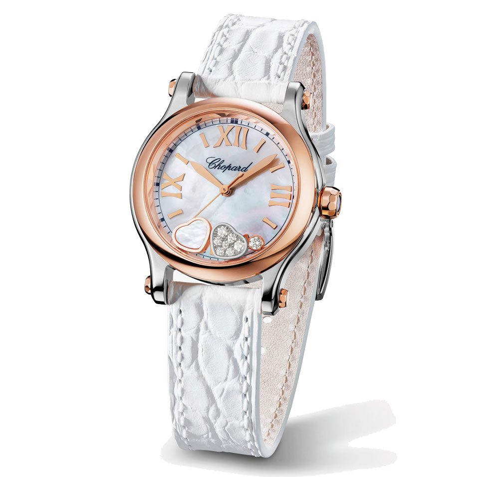 The rose gold hands and hour markers are striking on the mother-of-pearl dial of replica Chopard.