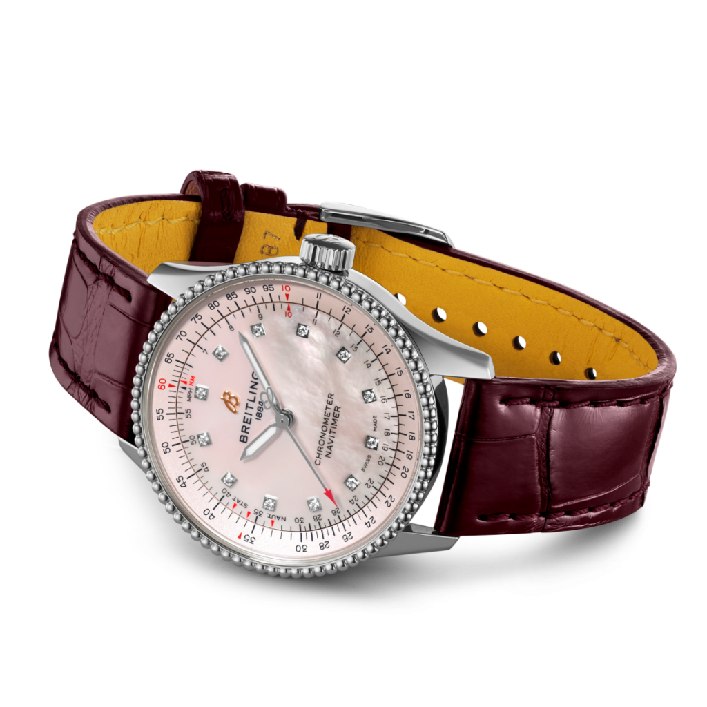 The diamonds and mother-of-pearl dial are good elements for Breitling replica.