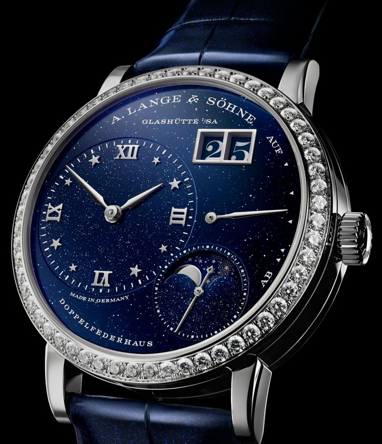 Replica watches for sale are showy with diamond design.