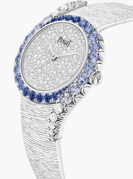 Online fake watches keep shiny with diamonds and blue sapphires.