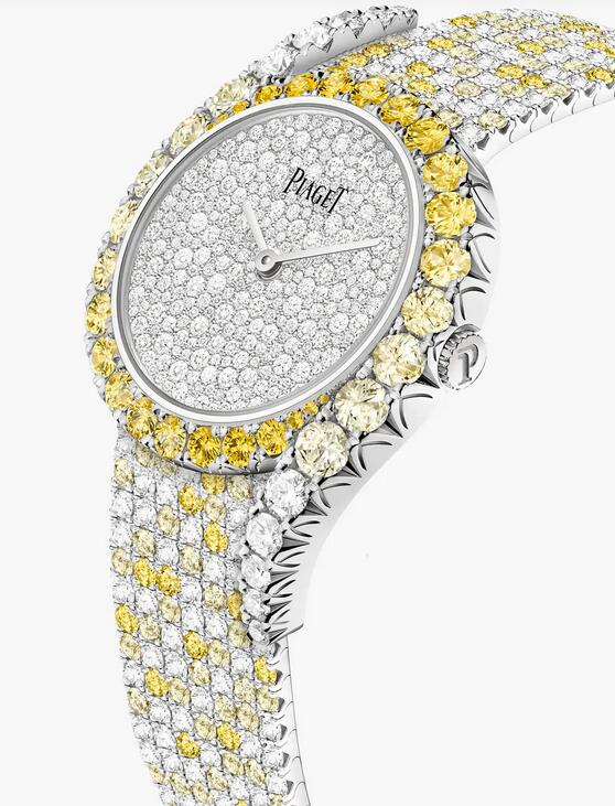 Swiss replica watches are integrated with diamonds and yellow sapphires.