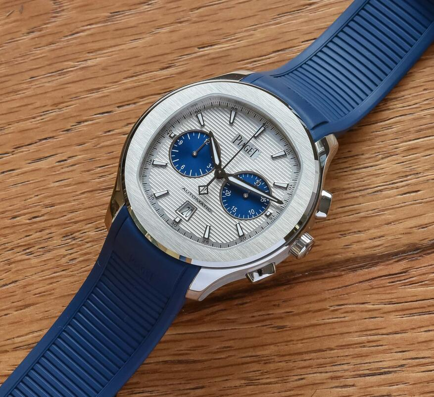 AAA replica watches are distinct with silver dials and two blue counters.